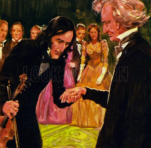 Hector Berlioz: He Hated Tradition in Music. Nicolo Paganini humbly kissed his hand after playing Berlioz's Harold in Italy. NB: scan of small illustration.