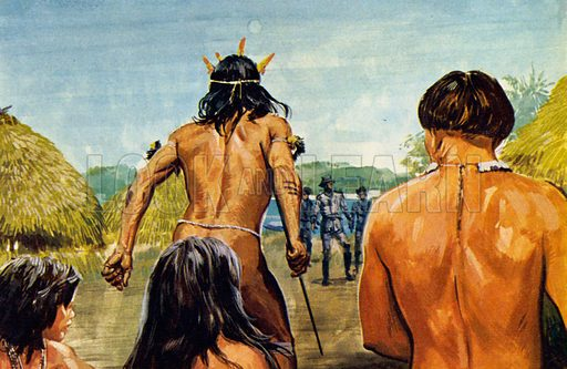 What Happened to Colonel Fawcett? Fawcett befriended the natives of the Matto Grosso. NB: scan of small illustration.