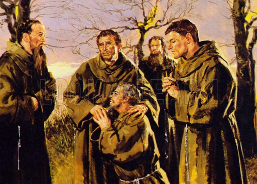 St. Francis of Assisi: He Gave Up Riches for Rags. After gathering disciples around him, and with the agreement of the Pope, he founded the famous order of St Francis. NB: scan of small illustration.