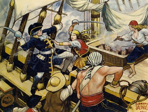 Mary Read: Soldier, Sailor, Housewife, Pirate. When the pirate ship was attacked, only three were prepared to defend it - and two of them were women! NB: scan of small illustration.