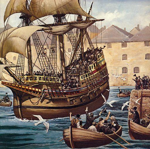 Westward Ho! The Mayflower leaves Plymouth Ho on 16 September 1620.