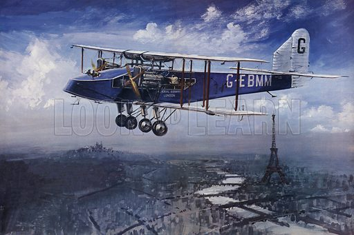 Imperial Airways.  A Handley Page W10 flying high over Paris.
