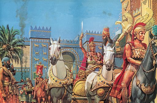 Alexander The Great, borne in his chariot, riding in triumph into Babylon
