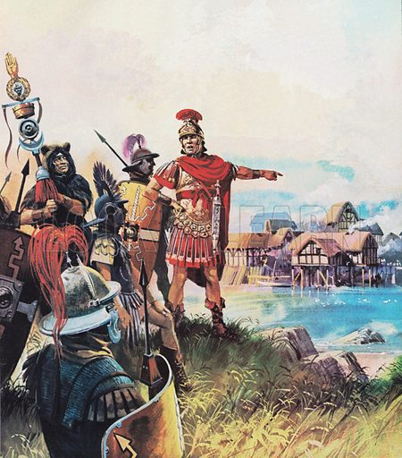Julius Caesar establishing his camp at a small settlement, destined to become Paris