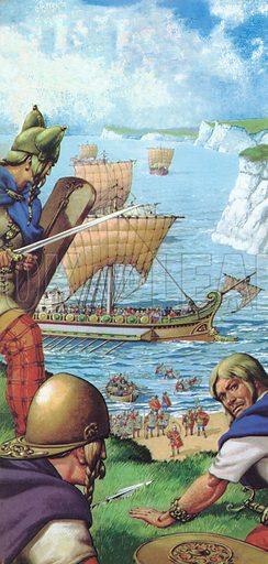 The Romans invading Britain.