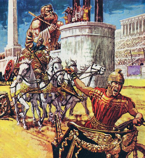 Chariot race in ancient Rome