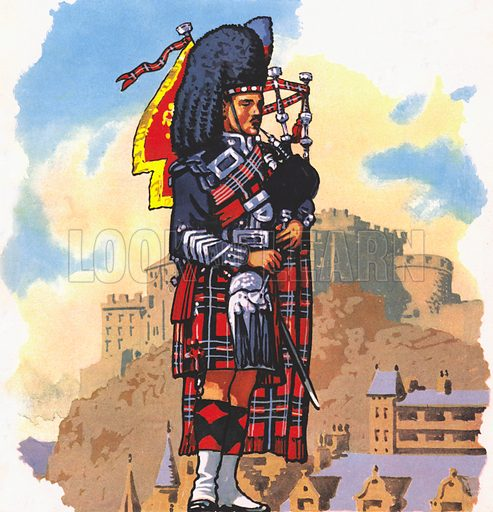Scottish piper, picture, image, illustration