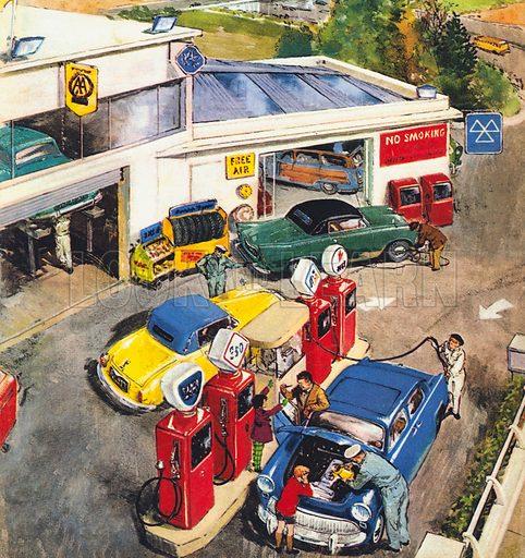Garage, England, 1960s.