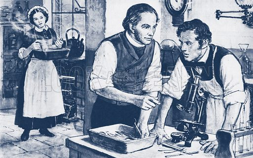 Joseph Lister (left) showing microbes on unwashed surgical instruments.