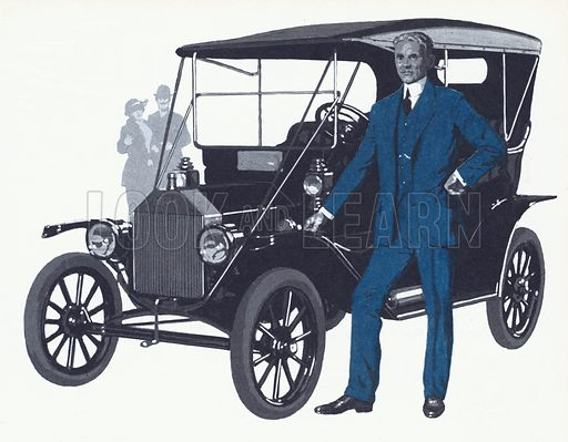 Henry Ford with the famous Model T that made the Ford name and fortune.