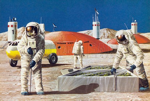Men working on the planet Mars, as imagined in the 1970s.