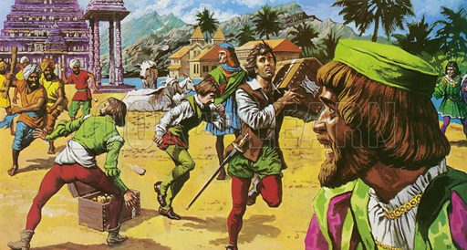 Vasco Da Gama. He has believed Calicut to be somewhat primitie, and he had come bearing trinkets. But he found a city of incredible wealth and he and his crews were mocked and stoned in the streets.