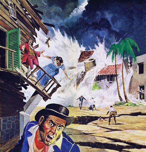 Destruction of Port Royal by a tidal wave in 1692.