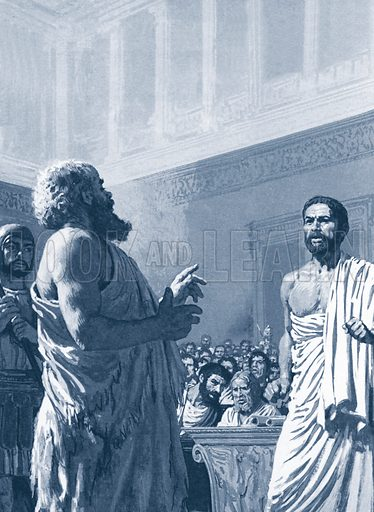 Trial of Socrates.  The prosecution could not match Socrates' brilliant reasoning.  But would this save from the fate threatened?.