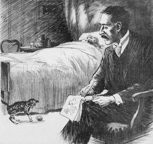 "Louis Wain spent hours at the bedside of his dying wife, amusing her with his sketches of her kitten ""Peter""."