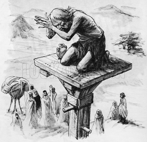 Simeon Stylites on the top of his column.