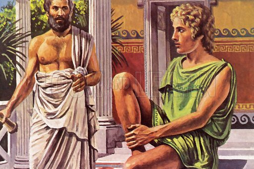 Alexander The Great, with his tutor, Aristotle