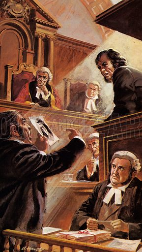 The Tichborne Case.  In a dramatic courtroom scene, Inspector Whicher presented the evidence of the false Sir Roger's deception.