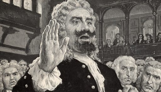 Captain Kidd solemnly pleaded Not Guilty to a charge of piracy.