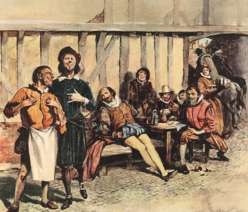 William Shakespeare imagained as merely an actor and tavern frequenter, along with his band of roistering players.  One view of William Shakespeare held by those who dispute the authorship of the plays.