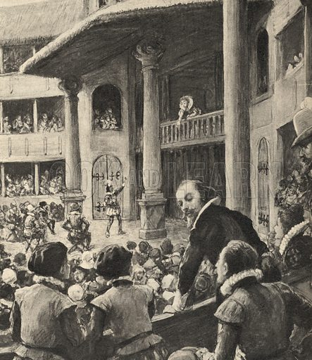 William Shakespeare watching, in 1592, a production of his Romeo and Juliet at the Globe Theatre.