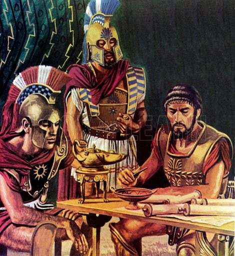 The Syracuse Expedition.  Unwilling to entrust the Syracuse expedition to just one general, the citizens of Athens instead chose three ment to lead the attack.  Nicles (centre) was put to death with the final defeat of the Athenians on the island; Lamachus (right) was killed in an early battle during the building of a siege wall; while Alcibiades (left), the most brilliant of the three, was recalled to face charges of sacrilege - and on his way home he escaped and defected to the side of Sparta.