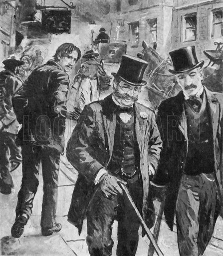 Robert Louis Stevenson, tramp-like, walking the streets of Edinburgh.  Note.  Image has been digitally enhanced to facilitate repro.