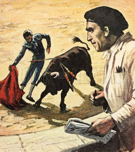 Pablo Picasso watching a bullfight