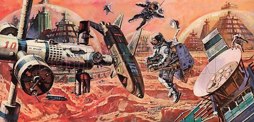 Mars, colonised by man, as envisaged in the 1980s.