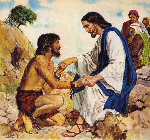 Jesus Christ cures a madman.