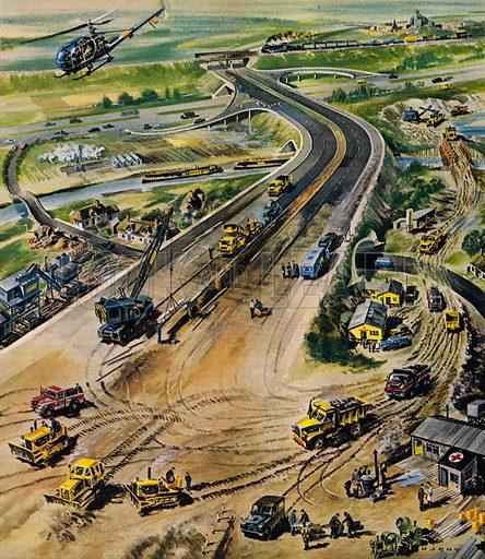 Building a motorway in 1960s England.