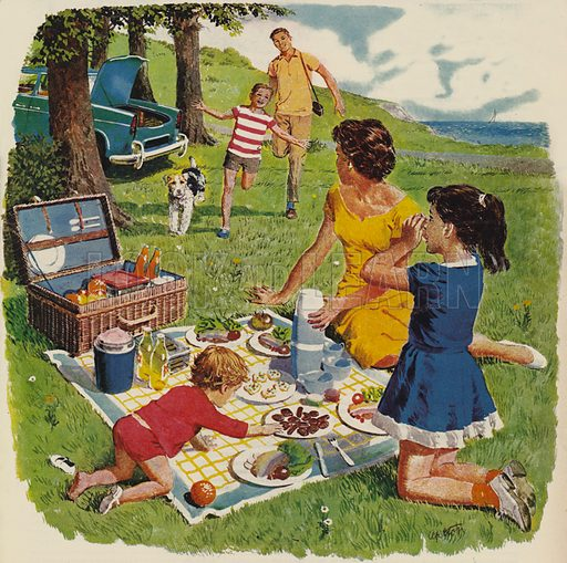 picnic, pictured, image, illustration