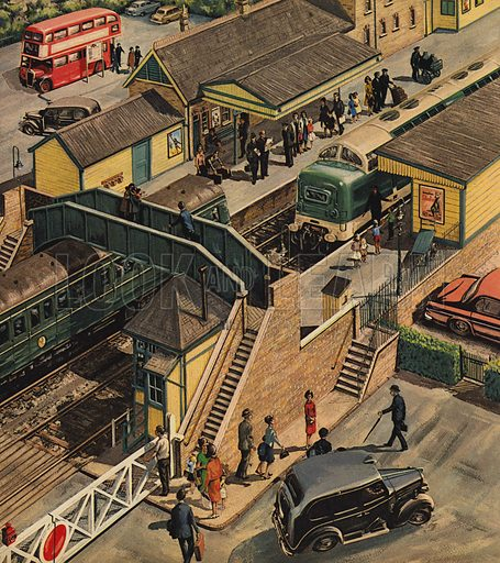 Railway station, picture, image, illustration