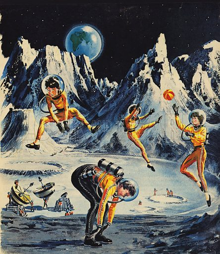 Family playing on the moon, as imagined in the 1960s