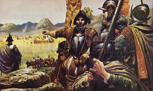Pizarro. After struggling over the mountains, Pizarro's men at last saw the Inca City, where they knew they was untold wealth to be plundered.