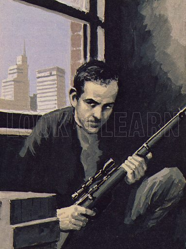 Lee Harvey Oswald waiting for his victim to come within his sights.