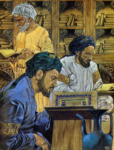 Scholars at their studies in the library of Bokhara, one of the most famous of all the Islamic libraries.