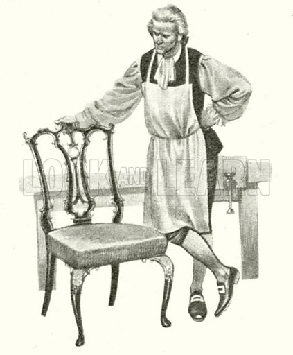 Thomas Chippendale, in his workshop, standing beside one of his chairs.  Note: Scan of small illustration.