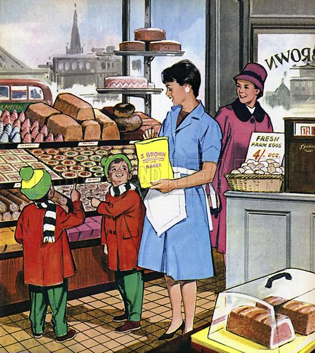 The Cake Shop Lady. People You See, from Teddy Bear magazine, 1965.