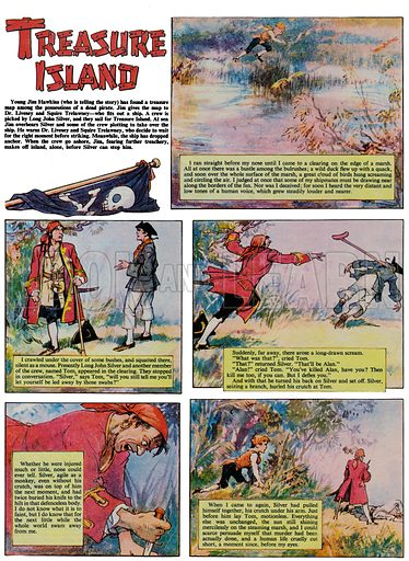 Treasure Island.  Page from comic strip from Ranger magazine.