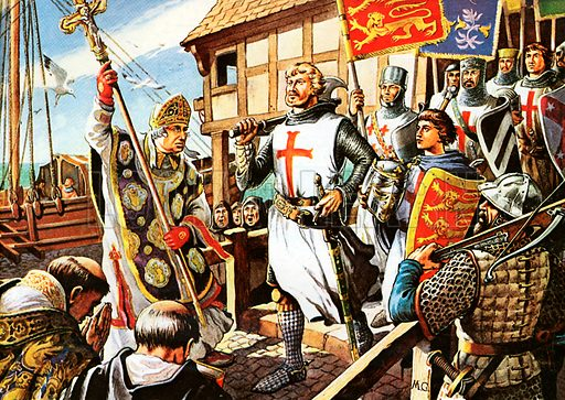 Richard the Lionheart and his knights leave for the First Crusade.