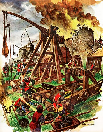 The Big Fighting Machines. Besieging a castle in the Middle Ages with huge catapults which have already knocked some stones out of the massive walls.