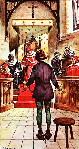 Joan of Arc being tried by a church court headed by her enemy the Bishop of Beauvais.
