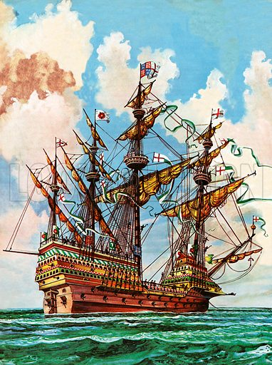 The Great Harry, flagship of King Henry VIII's fleet, sporting many of its 251 guns.