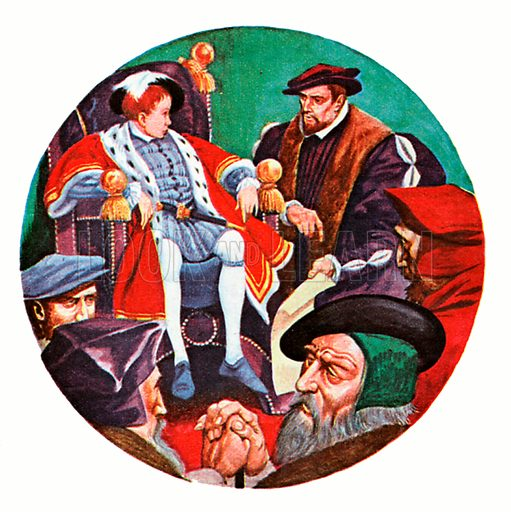 Edward the Boy King of England. King Edward the Sixth, a clever, well-educated boy, enjoys discussing affairs of state with his councillors.