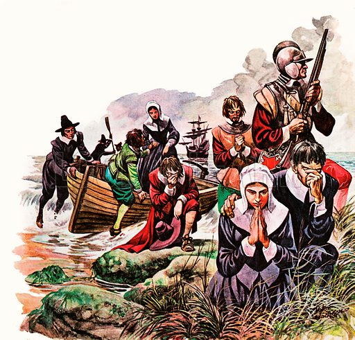The Pilgrim Fathers land in America at Plymouth Rock, and pray for the success of their new life.