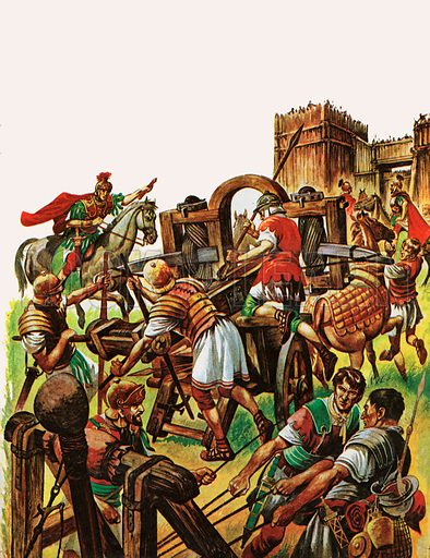 When the Britons Fought against the Roman Armies. Roman soldiers attack a fortified town with a large catapult-like machine and a smaller ballister.
