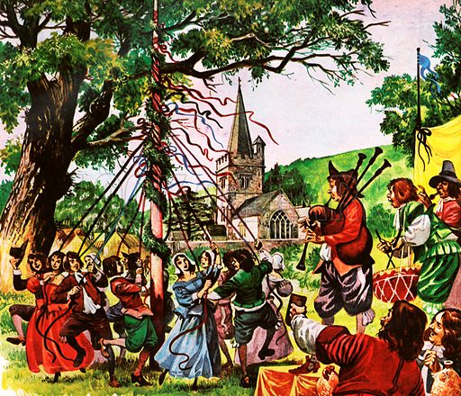When England Became Merry Again. Villagers dance round the maypole outside the village church as musicians play merry tunes.