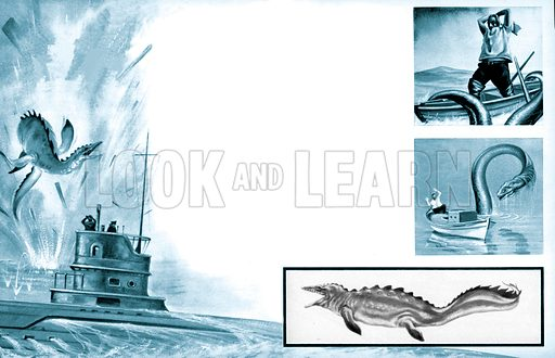 What did the U-boat's torpedo kill? In 1915 a German U-boat had torpedoed a British steamer which sank immediately. Beneath the water, the ship exploded hurling up wreckage – and also the 60 foot body of a strange crocodile-like creature.