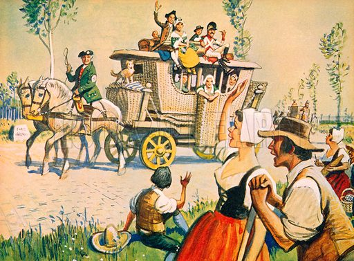 A carriage on the road between Paris and Versailles in 1787. Illustration from Once Upon a Time.